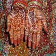 The Wonderfully Decorated Hands And Clothes Of An Indian Bride Art Print