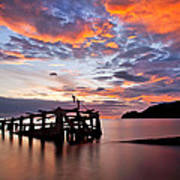 The Wreck In Sea With Fantastic Sky Art Print by Arthit Somsakul