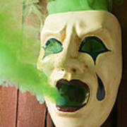 Theater Mask Spewing Green Smoke Art Print by Garry Gay