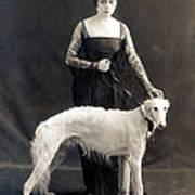 Theda Bara With Her Russian Wolfhound Art Print