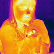 Thermogram Of A Girl And Cat Art Print