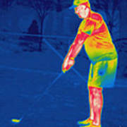 Thermogram Of A Golfer Art Print