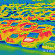 Thermogram Of A Parking Lot Art Print