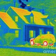 Thermogram Of Car In Front Of A House Art Print