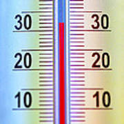 Thermometer Measuring 32 Celsius Art Print