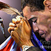 They Shall Mount Up With Wings Like Eagles -  President Obama  Art Print by Reggie Duffie