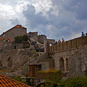 They Walk The Wall In Dubrovnik Art Print