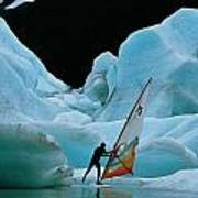 This Windsurfer In Portage Lake Art Print by Chris Johns