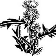 Thistle, Lino Print Art Print