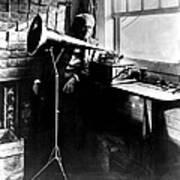 Thomas Edison With His New Invention Art Print