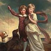 Thomas John Clavering And Catherine Mary Clavering Art Print by George Romney