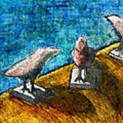 Three Birds Blue Art Print