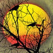 Three Blackbirds Art Print