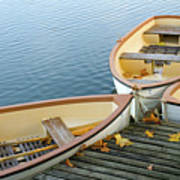 Three Boats Floating On Pond Beside Pier Art Print