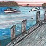 Three Boats In The Harbor Art Print