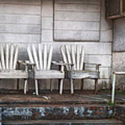 Three Chairs Beyond Front Street Art Print by Brenda Bryant