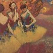 Three Dancers In Yellow Skirts Art Print by Edgar Degas