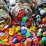 Three Jars Of Buttons Dice And Marbles Art Print