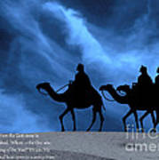 Three Kings Travel By The Star Of Bethlehem - Midnight With Caption Art Print by Gary Avey