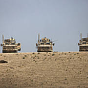 Three M-atvs Guard The Top Of The Wadi Art Print