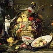Three Monkeys Stealing Fruit Art Print