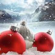 Three Red Christmas Balls In The Snow Art Print