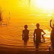 Three Young Kids Fishing On The Lake At Sunset Art Print