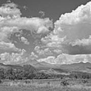 Thunderstorm Clouds Boiling Over The Colorado Rocky Mountains Bw Art Print