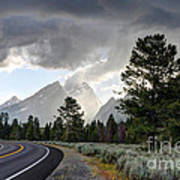 Thunderstorm On Grand Teton Road Art Print