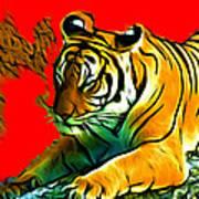 Tiger - 3825 - Red Art Print
