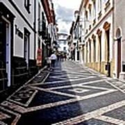 Tiled Street Of Ponta Delgada Art Print