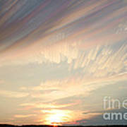 Time-lapse Clouds At Sunset Art Print