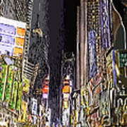 Times Square Abstract Art Print by Robert Ponzoni