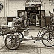 Tiny Biker Sepia Art Print