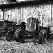 Tired Tractors Bw Art Print