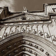 Toledo Cathedral Entrance In Sepia Art Print