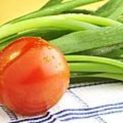 Tomato And Green Onions Art Print