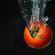 Tomato Falling Into Water Art Print