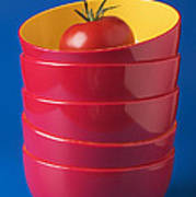 Tomato In Stacked Bowls Print by Garry Gay