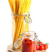 Tomatoes Sauce And  Spaghetti Pasta  Print by Amanda Elwell