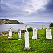 Tombstones Near Atlantic Coast In Newfoundland Art Print by Elena Elisseeva