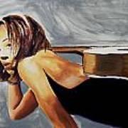 Tonya With Guitar On Back Art Print