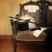 Top Hat And Cane On Sofa Art Print