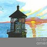 Top Of A Lighthouse At Sunset Art Print