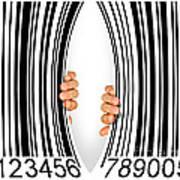 Torn Bar Code Art Print by Carlos Caetano