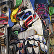 Totem Poles In The Pacific Northwest Art Print