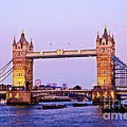 Tower Bridge In London At Dusk Art Print