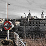 Tower Of London With Tube Sign Art Print