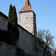 Town Wall And Tower - Rothenburg Art Print