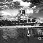 Toy Boating In A Parisian Park Bw Art Print